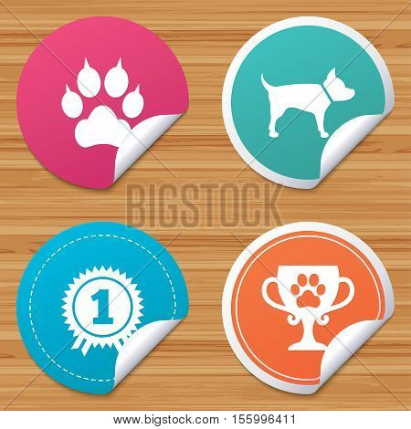 Round stickers or website banners. Pets icons. Cat paw with clutches sign. Winner cup and medal symbol. Dog silhouette. Circle badges with bended corner. Vector