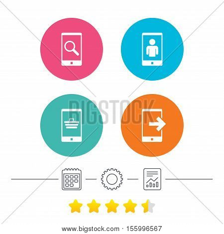 Phone icons. Smartphone video call sign. Search, online shopping symbols. Outcoming call. Calendar, cogwheel and report linear icons. Star vote ranking. Vector