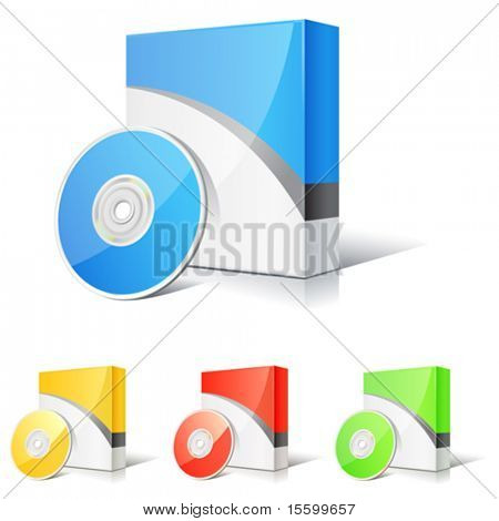 vector set of software boxes