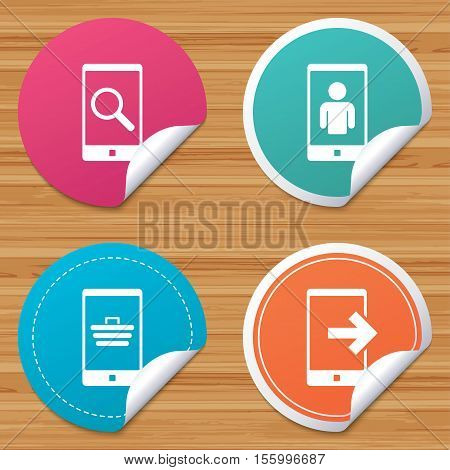Round stickers or website banners. Phone icons. Smartphone video call sign. Search, online shopping symbols. Outcoming call. Circle badges with bended corner. Vector