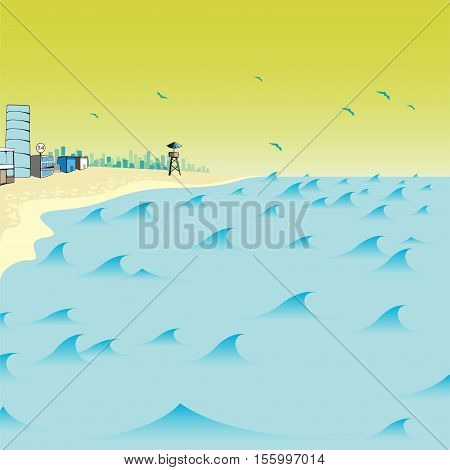 beach sea vector illustration in cartoon style isolated from the background