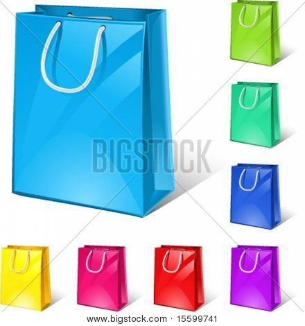 bolsas de la compra del vector (8 versiones de color)