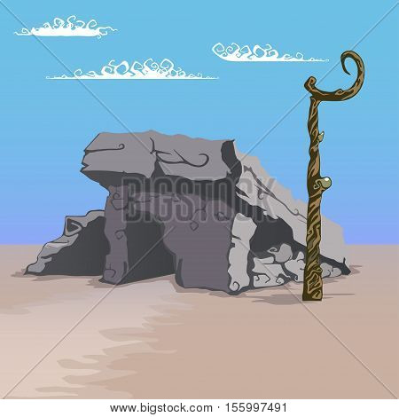 house made of stones vector illustration in cartoon style