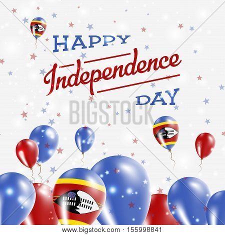 Swaziland Independence Day Patriotic Design. Balloons In National Colors Of The Country. Happy Indep