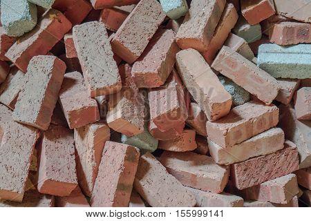 Heap of orange brick blocks, Brick blocks material for construction, Scatteredly of brick blocks heap, Non assembled brick blocks