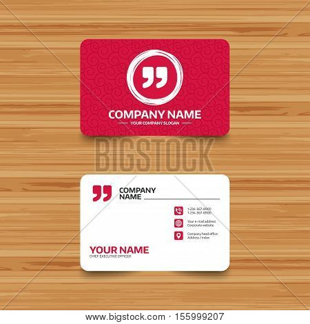 Business card template with texture. Quote sign icon. Quotation mark symbol. Double quotes at the end of words. Phone, web and location icons. Visiting card  Vector