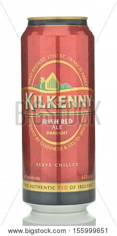 CIRCA NOVEMBER 2016 - GDANSK: Kilkenny Irish red ale beer isolated on white background. Kilkenny is brewed in Ireland and its heritage dates back to the 14th century.