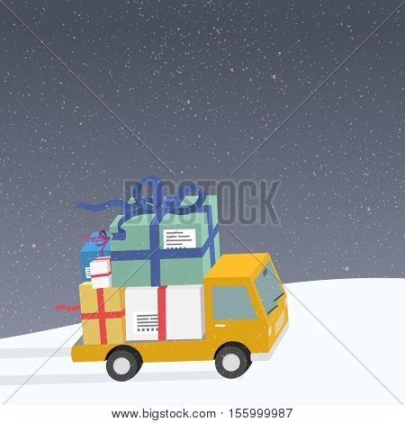 Delivery car with bunch of christmas gifts in winter country.