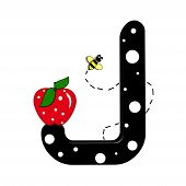 """The letter J in the alphabet set """"Buzzer"""" is black with white polka dots. Letter is decorated with a red apple and a buzzing bee. poster"""