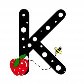 """The letter K in the alphabet set """"Buzzer"""" is black with white polka dots. Letter is decorated with a red apple and a buzzing bee. poster"""