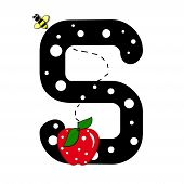 """The letter S in the alphabet set """"Buzzer"""" is black with white polka dots. Letter is decorated with a red apple and a buzzing bee. poster"""