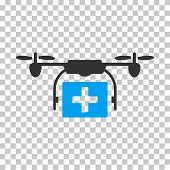Ambulance Drone interface icon. Vector pictograph style is a flat bicolor symbol, blue and gray colors, chess transparent background. poster