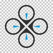 Fly Drone interface toolbar icon. Vector pictograph style is a flat bicolor symbol, blue and gray colors, chess transparent background. poster