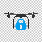 Load Cargo Drone interface toolbar icon. Vector pictogram style is a flat bicolor symbol, blue and gray colors, chess transparent background. poster