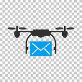 Mail Delivery Drone square icon. Vector pictograph style is a flat bicolor symbol, blue and gray colors, chess transparent background. poster