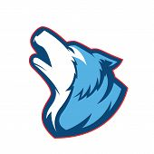 Clipart picture of a howling wolf cartoon mascot logo character poster