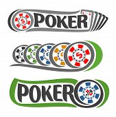 Vector logo Poker: five playing card set ace diamonds hand for gambling game, colorful chips with dollar sign for casino club, on token suits: spades, hearts, diamonds, clubs for poker gamble games. poster