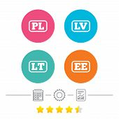 Language icons. PL, LV, LT and EE translation symbols. Poland, Latvia, Lithuania and Estonia languages. Calendar, cogwheel and report linear icons. Star vote ranking. Vector poster