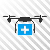 Ambulance Drone vector pictograph. Illustration style is flat iconic bicolor blue and gray symbol on a hatch transparent background. poster