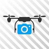 Camera Drone vector pictograph. Illustration style is flat iconic bicolor blue and gray symbol on a hatch transparent background. poster