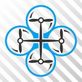 Drone Screws vector pictograph. Illustration style is flat iconic bicolor blue and gray symbol on a hatched transparent background. poster