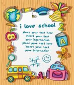 Cute grunge frame with colorful school icons, isolated on wooden background. poster