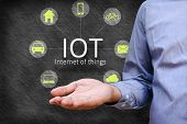 Internet of things (IoT) concept. Man show iot link network and symbol connected with icons poster
