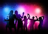 Party People Background - Vector dancing young people. poster