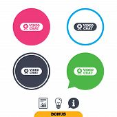 Video chat sign icon. Webcam video conversation symbol. Website webcam talk. Report document, information sign and light bulb icons. Vector poster