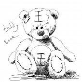 Teddy bear doodle Vector poster