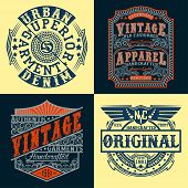 Set of Vintage typography, t-shirt graphics, apparel stamps, tee print design, vintage emblems of denim goods, vector poster
