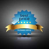 vector best price label in blue color poster