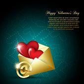 vector heart design on mail envelop poster