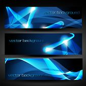 vector three blue abstract eps10 banner poster
