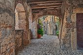 Sorano, Grosseto, Tuscany, Italy: picturesque old narrow alley with underpass, ancient houses, plants and flowers in the medieval village poster