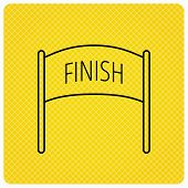 Finish banner icon. Marathon checkpoint sign. Linear icon on orange background. Vector poster