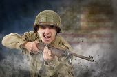 young American soldier ww2 with rifle attack poster