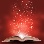 magic book on a  background with the lines and lights poster