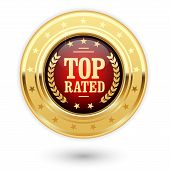 Top rated medal - rating golden insignia poster