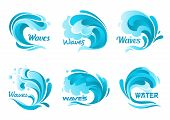 Water waves splash. Vector ocean wave isolated icons. Blue water wave graphic sign for decoration. Waves of sea tide, storm, foamy splash symbols poster