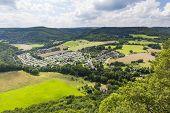 The camping site Hetzingen in Nideggen Eifel Germany in the Rur Valley. poster
