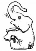 The simplified monochrome vector drawing - the stylized elephant poster