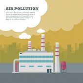 Air pollution concept. Factory building with pipes in flat. Air pollution by smoke coming out of two factory chimneys. Power plant smokestacks emitting smoke over urban cityscape. Vector illustration poster