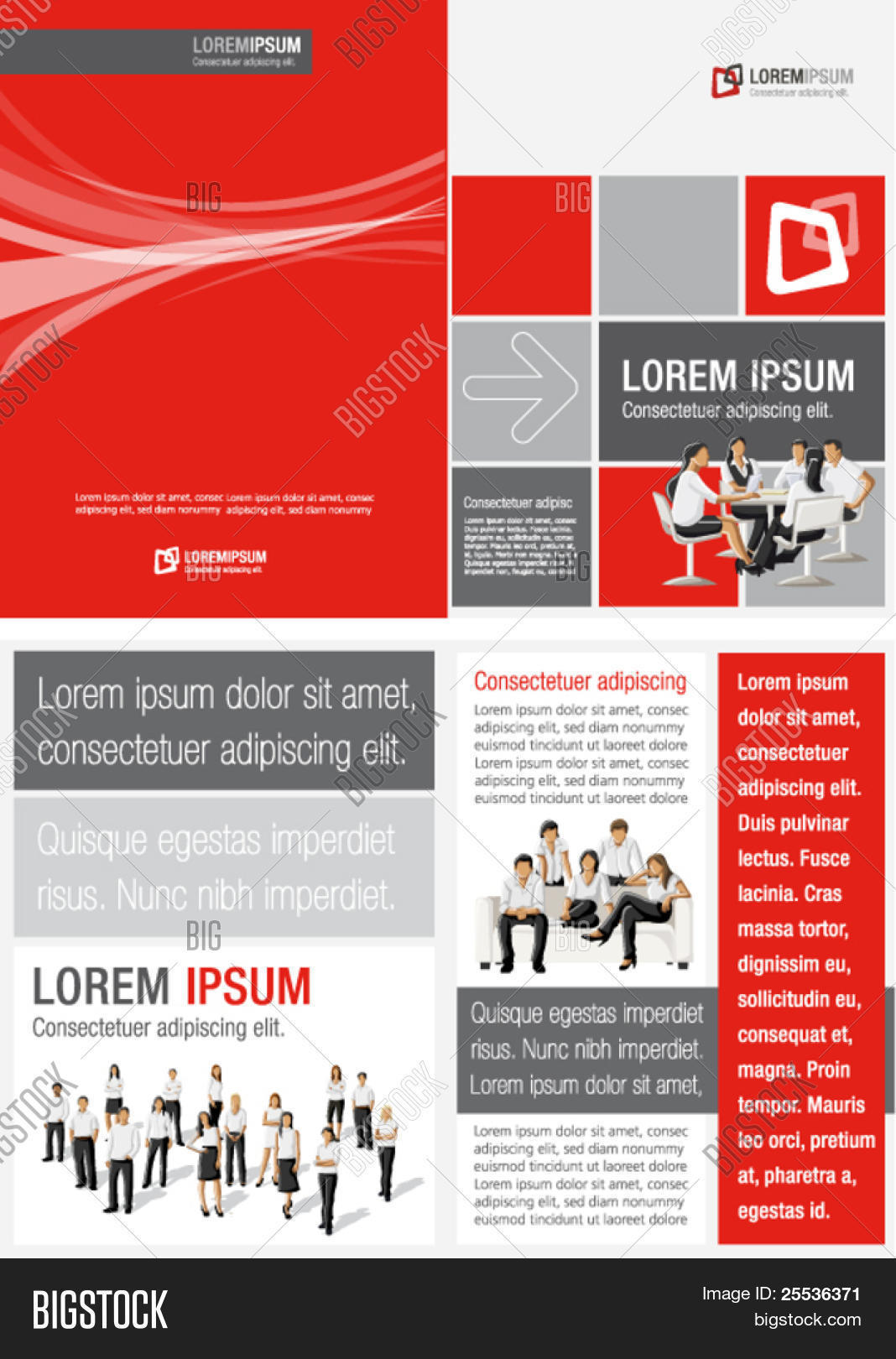 Red ,white And Black Template For Advertising Brochure With Business People  Advertising Brochure Template