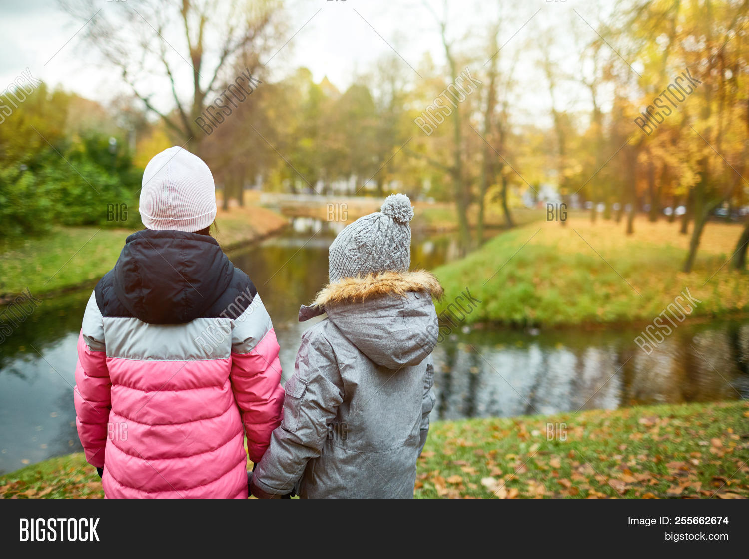 2e12c18bb52 Back view of two school friends in warm jackets and beanies holding by  hands while standing