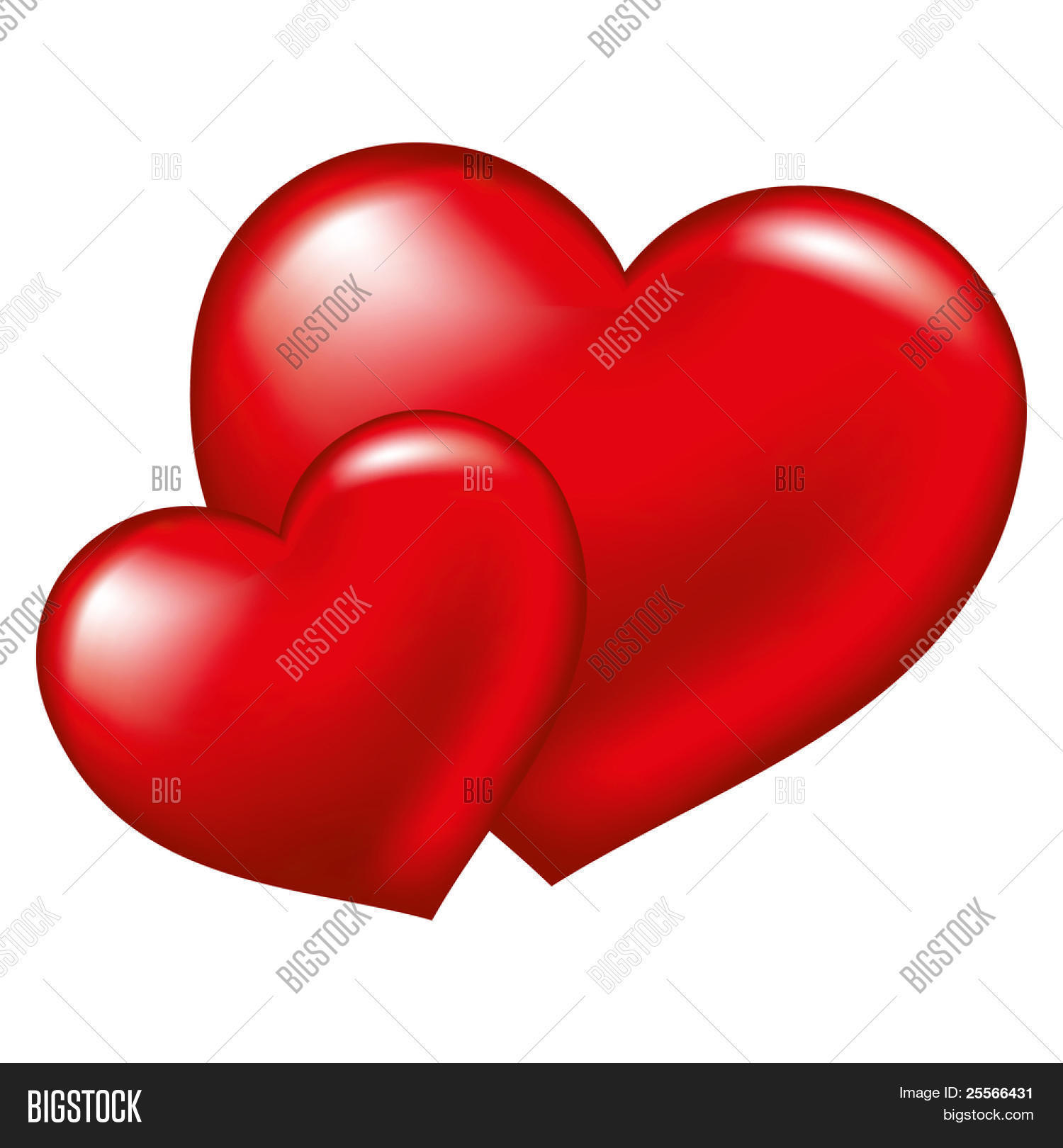Two Red Heart Symbol Vector Photo Free Trial Bigstock