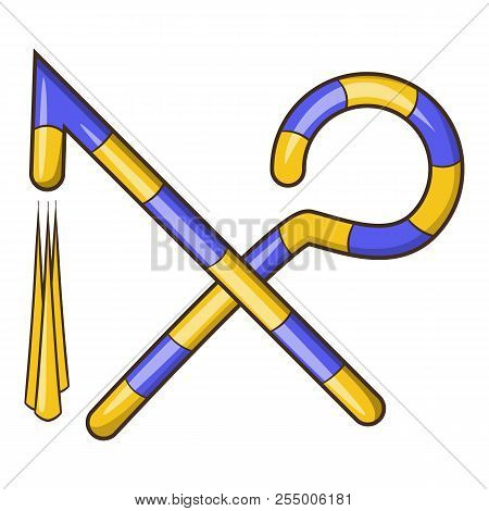 Osiris Crossed Hook And Flail Icon. Cartoon Illustration Of Hook And Flail Icon For Web Design