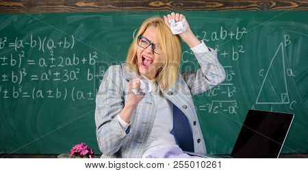 Fed Up Of Fails. Trial And Error Is Fundamental Method Of Problem Solving. Woman Teacher Holds Crump
