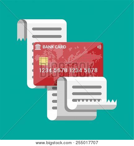 Paper Receipt And And Credit Card. Cashless Payment Concept. Invoice Bill And Plastic Bank Card. Onl