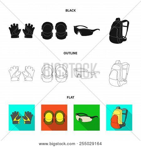 Gloves, Elbow Pads, Goggles, Cyclist Backpack.cyclist Outfit Set Collection Icons In Cartoon Style V